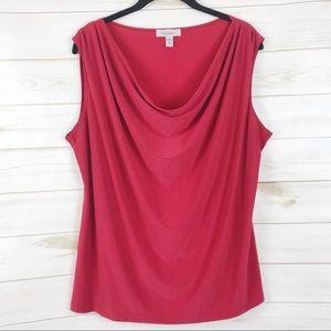 [Dressbarn] Red Sleeveless Cowl Neck Top